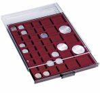 Leuchtturm MB érmetároló dobozok szögletes beosztásokkal (19x19-150x150 mm átmérő, különböző átmérő)