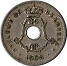 Belgium-1904-1906-5 Centimes-Réz-Nikkel-VF-Pénzérme