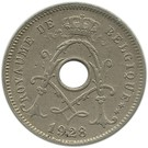 Belgium-1910-1925-5 Centimes-Réz-Nikkel-VF-Pénzérme