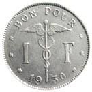 Belgium-1923-1 Franc-Nikkel-VF-Pénzérme