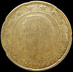 Belgium-2000-20 Euro Cent-VF-Pénzérme
