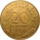 Franciaország-1962-2001-20 Centimes-Réz-Aluminium-Nikkel-VF-Pénzérme