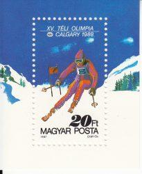 Magyarország-1987 blokk-Téli olimpia-UNC-Bélyegek